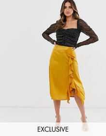 Missguided midi satin skirt with ruffle trim in go