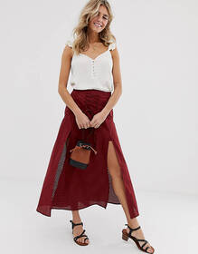 ASOS DESIGN tie front midi skirt with lace inserts