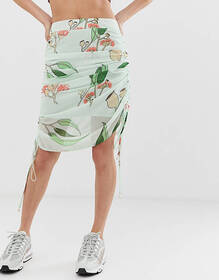 ZYA midi skirt with ruched sides in floral print