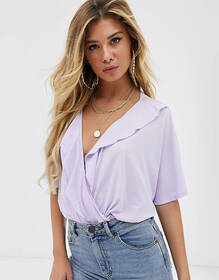 ASOS DESIGN angel sleeve ruffle wrap body in lilac