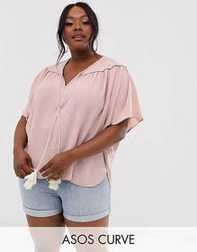 ASOS DESIGN Curve smock top with rope tie