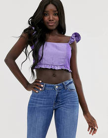 ASOS DESIGN cropped top with frill shoulder