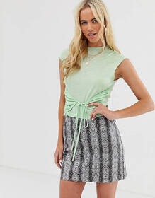 ZYA high neck top with tie front