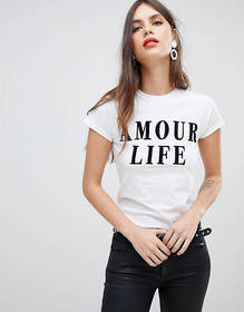River Island amour life slogan t-shirt in white