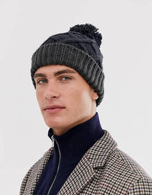French Connection color block bobble beanie