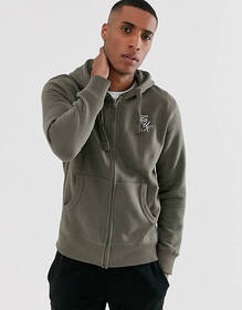 French Connection logo zip through hoodie