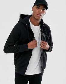 French Connection logo hooded zip through