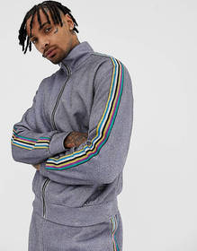 Jaded London track top in metallic silver with sid