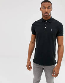 Abercrombie & Fitch icon logo pique polo in black