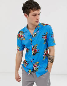 Moss London skinny fit shirt with bright floral pr