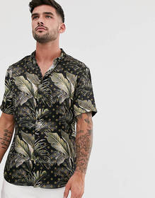 River Island shirt with palm print in navy & gold