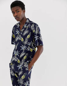 Fairplay Capone shirt with pineapple print in navy