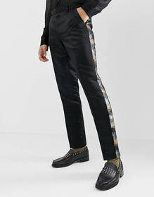 ASOS EDITION skinny suit pants in gray and gold se