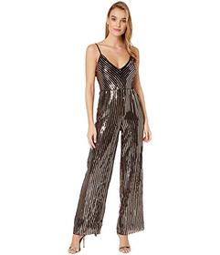 Bebe Sequence Jumpsuit Back Cowl Neck Spaghetti St