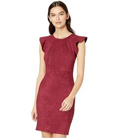 Bebe Suede Flutter Sleeve Bodycon Dress w\u002F Ex