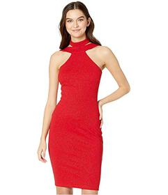 Bebe Bodycon Glitter Scuba Crepe Halter Dress