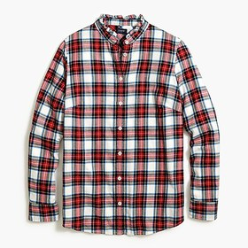 J. Crew Factory Flannel shirt with ruffle collar