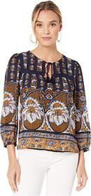 Lucky Brand Printed Laura Lace Peasant Top