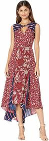 BCBGMAXAZRIA Mixed Print Midi Dress