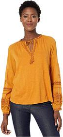 Lucky Brand Long Sleeve Embroidered Peasant Top