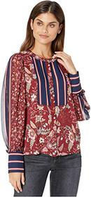 BCBGMAXAZRIA Mixed Print and Stripe Woven Blouse