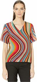 Paul Smith Silk Deep Cut Stripe Top
