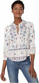 Lucky Brand Ruffle All Knit Printed Popover Top