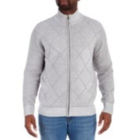 METHOD Mens Diamond Full-Zip Sweater