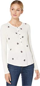 Lucky Brand All Over Embroidered Thermal Top