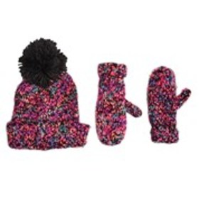 BERKSHIRE Girls Knit Yarn Pom Hat & Mittens Set