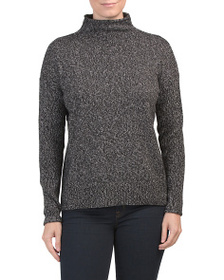 TAHARI Funnel Neck Pullover Sweater With Rolled Ed