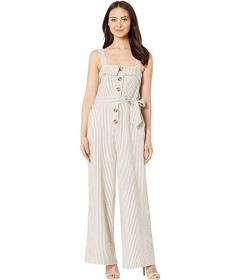 Vince Camuto Sleeveless Natural Linen Stripe Tie F