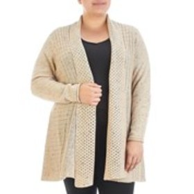 NOTATIONS Plus Size Mixed Knit Marled Open Front D