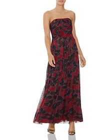 HALSTON - Pleated Floral-Print Gown