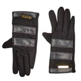 BEBE Womens Faux Leather Trim Touch Screen Gloves