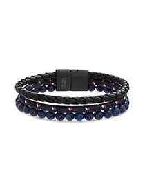 Lord & Taylor Triple-Strand Leather & Stainless St