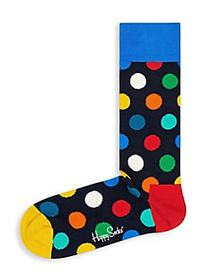 Happy Socks Dotted Crew Socks BLUE YELLOW