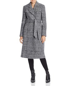 Cole Haan - Belted Houndstooth Wrap Coat