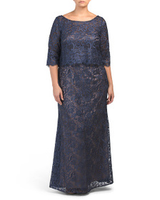 JS COLLECTIONS Plus All Over Lace Gown