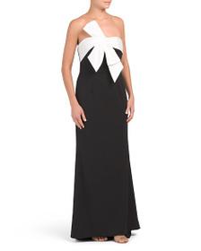 ADRIANNA PAPELL Bow Front Long Gown