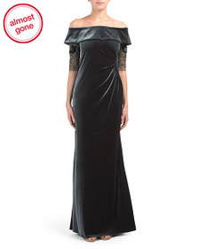 TERI JON Off The Shoulder Velvet Gown