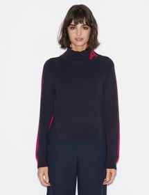 Armani TWO-TONE PULLOVER WITH LOGO AND CONTRAST DE