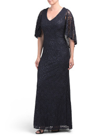 MARINA Sequin Lace Cape Gown