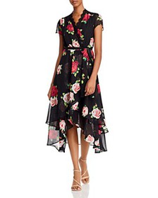 Betsey Johnson - Floating Roses Faux Wrap-Front Dr