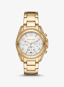 Michael Kors Oversized Blair Pavé Gold-Tone Watch