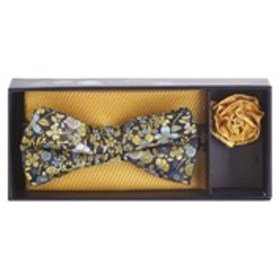 Mens Floral Print Bow Tie, Yellow Pocket Square An