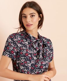 Brooks Brothers Floral-Print Crepe Tie-Neck Blouse