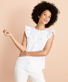 Brooks Brothers Ruffle-Trimmed Poplin Blouse