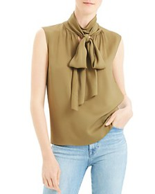 Theory - Sleeveless Tie-Neck Silk Blend Top