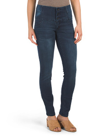SOUND STYLE Exposed Front Button Jeggings